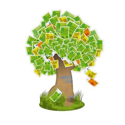 finanzieller Aufstieg - ein Geldbaum, der regelmäßige Erträge erzeugt