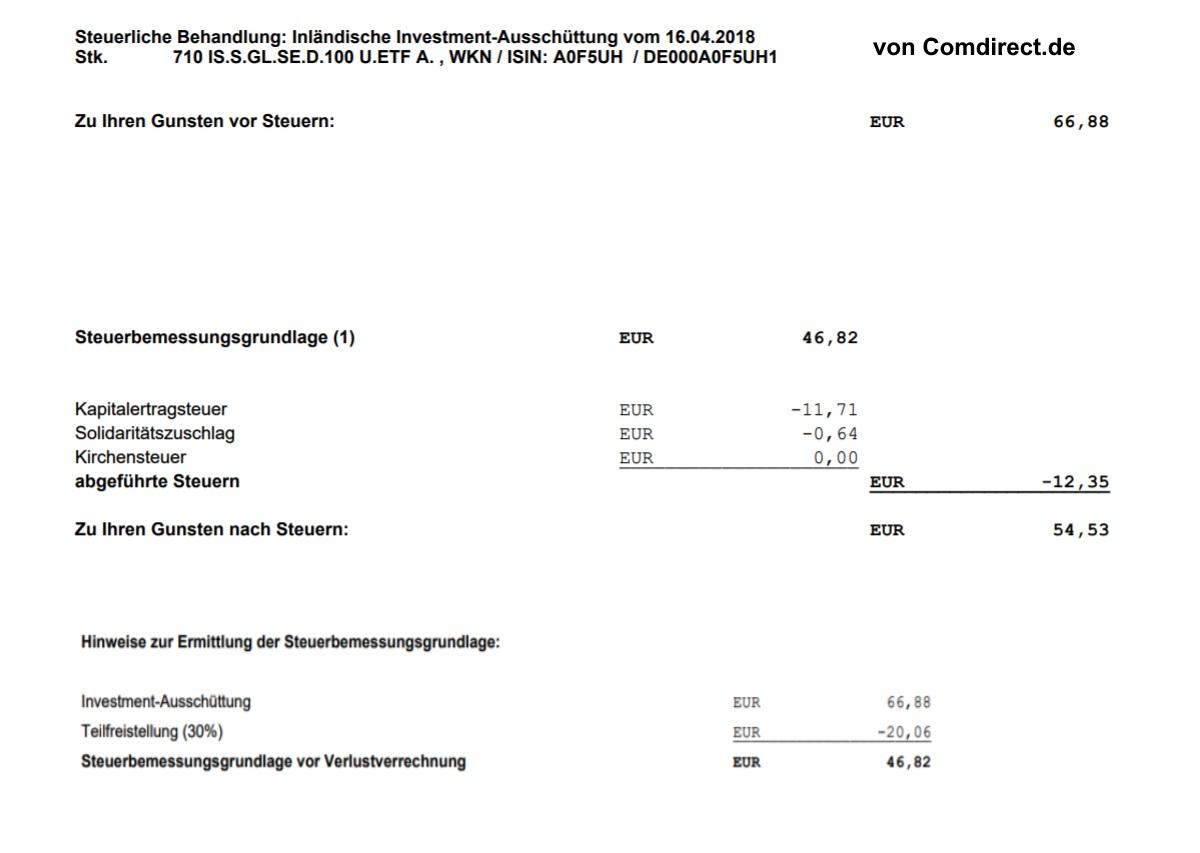 Erfahrungen mit ETF und der Investmentsteuerreform - Steuerliche Behandlung des iShares STOXX Global Select Dividend 100 (DE) (DE000A0F5UH1) im April 2018