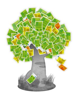 Zehn gute Gründe für den Vermögensaufbau - Geldbaum, der permanent passives Einkommen produziert
