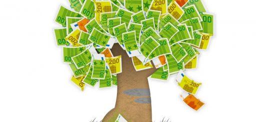 finanzielle Bildung - Ein Geldbaum, auf dem immer wieder neue Geldscheine heranwachsen